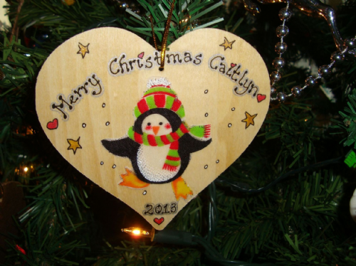 Penguin in Hat & Scarf Wooden Christmas Heart Hanger Decoration Personalised Handcrafted Unique